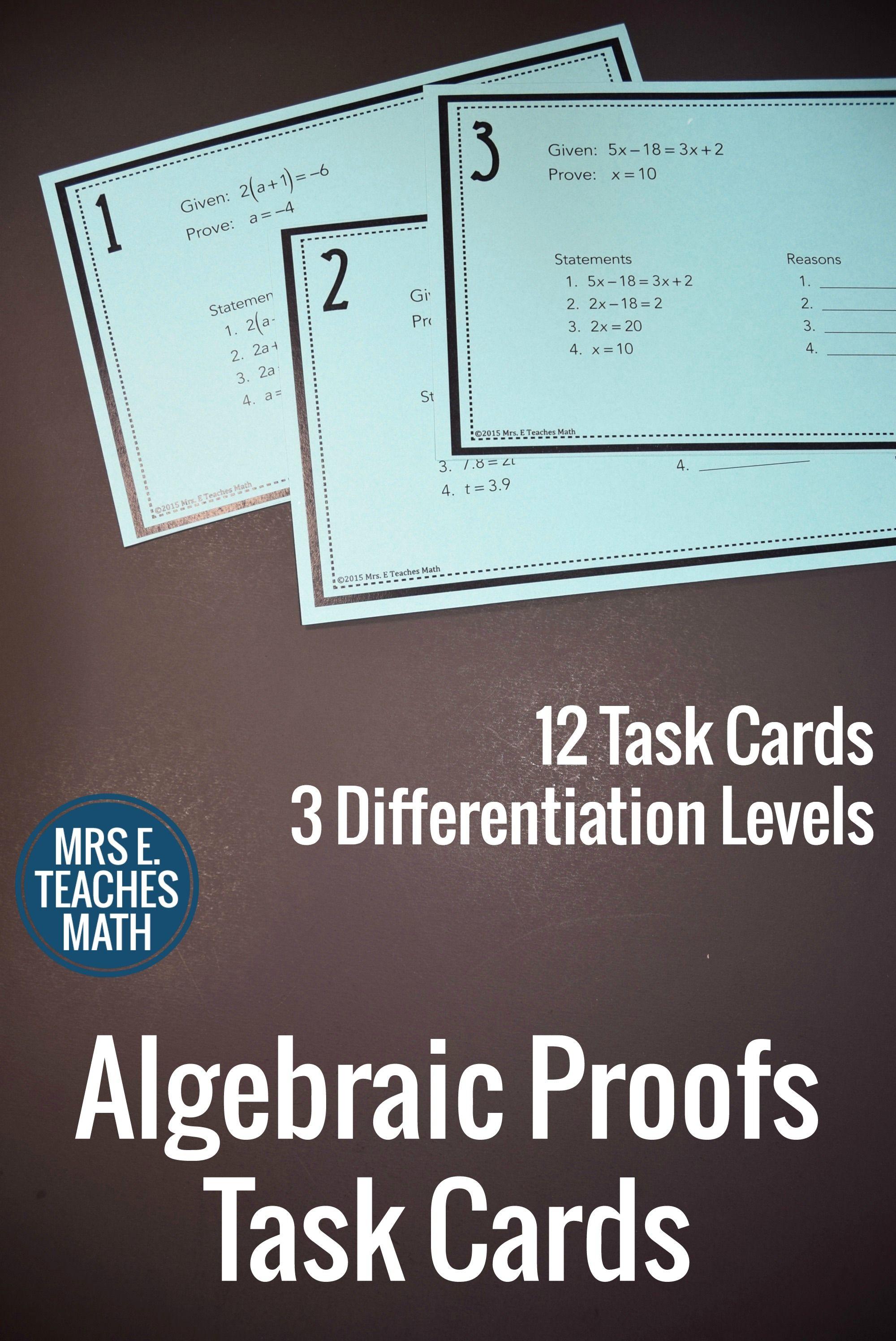 Algebraic Proofs Task Cards Algebraic Proof Task Cards Geometry Proofs