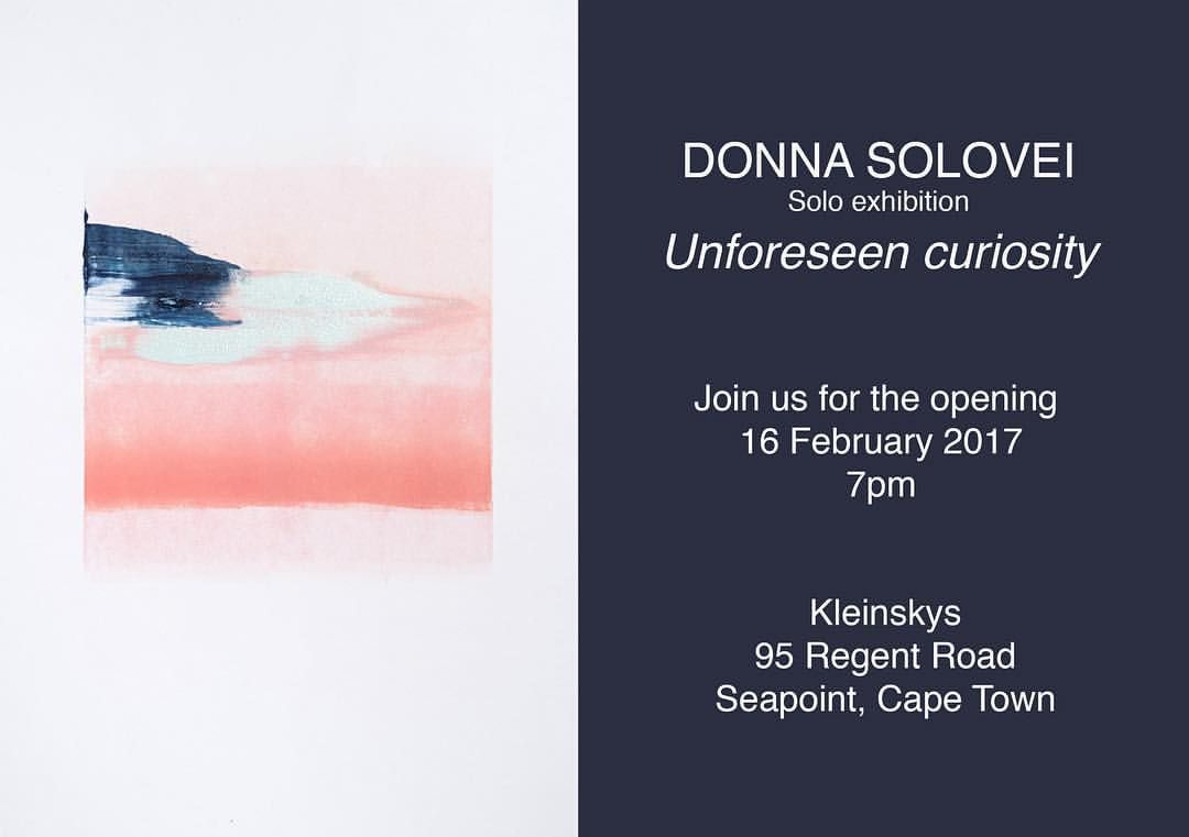 Yes! That's me! Can't wait to see you all there. Thursday 16 February 7pm @kleinskys #exhibition #unforeseencuriosity #art #capetown