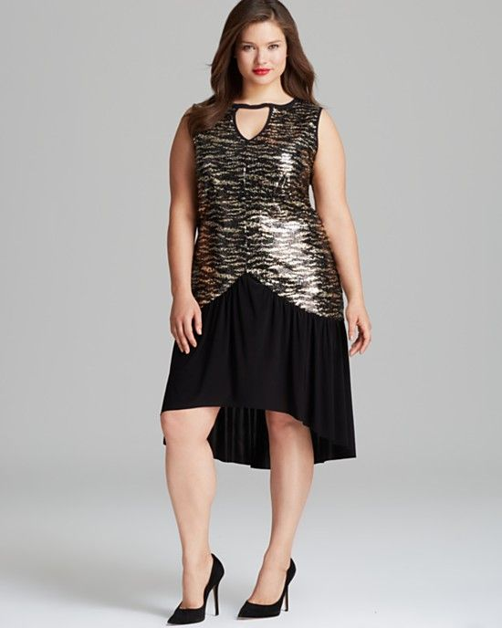 Tbags Los Angeles Plus Sleeveless Sequin Highlow Dress Plussize