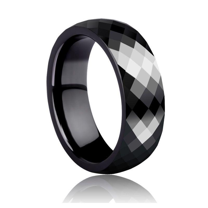High Quality 4mm/7mm Prism Design Faceted Black Ceramic Rings for ...