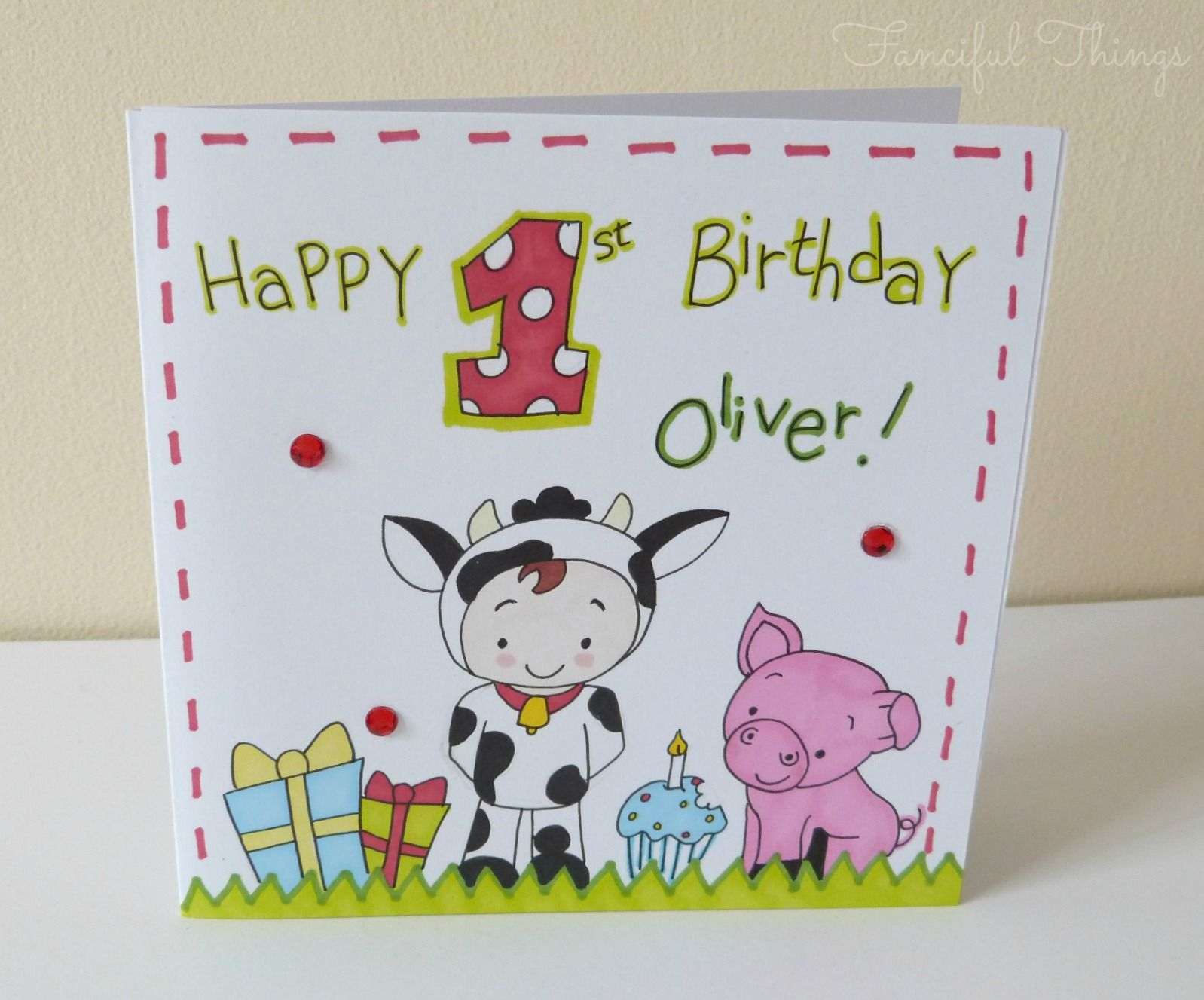 Farm Themed Hand Drawn 1st Birthday Card From Www Fancifulthings Co Uk 1st Birthday Cards Birthday Cards How To Draw Hands