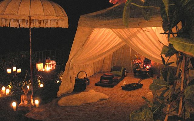 Luxury Safari Tent at Night by The Massage Express Co., via Flickr