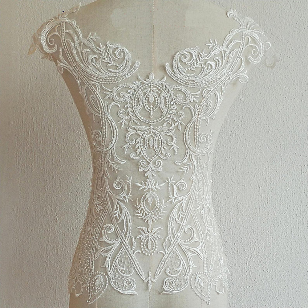 Ivory Lace Applique Beaded Bridal Gown Motif Embroidery Wedding Dress Trim 1 PC