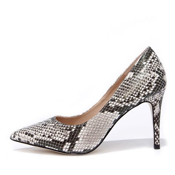 9d9f69d63aa Mixx Shuz True to Formal Black and White Snakeskin Pointed Pumps ( 32) ❤  liked