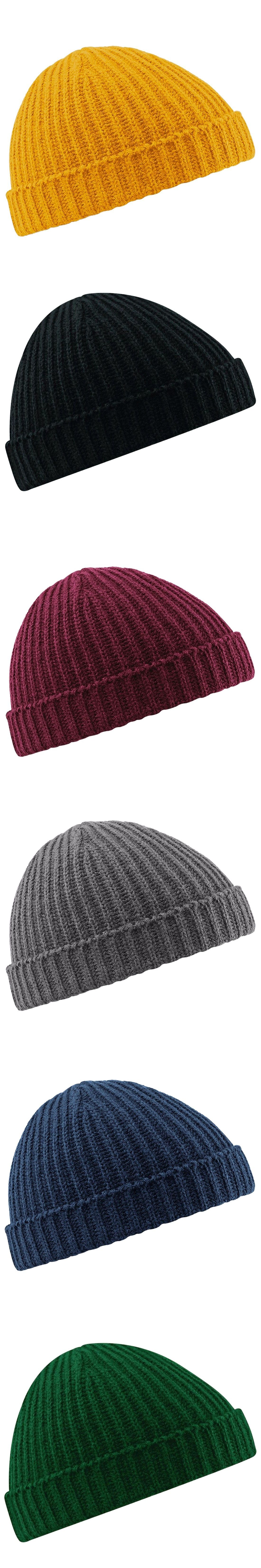 0d377a3850e Fisherman Beanie Ribbed Hat Winter Warm Turn Up Retro Mens Womens Ladies