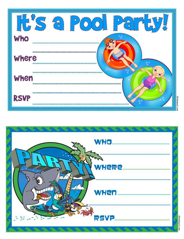 Free Printable Party Invitations Free Printable Pool Party – Free Printable Party Invitations for Kids Birthday Parties