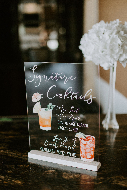 Custom acrylic bar or cocktail sign for signature drinks