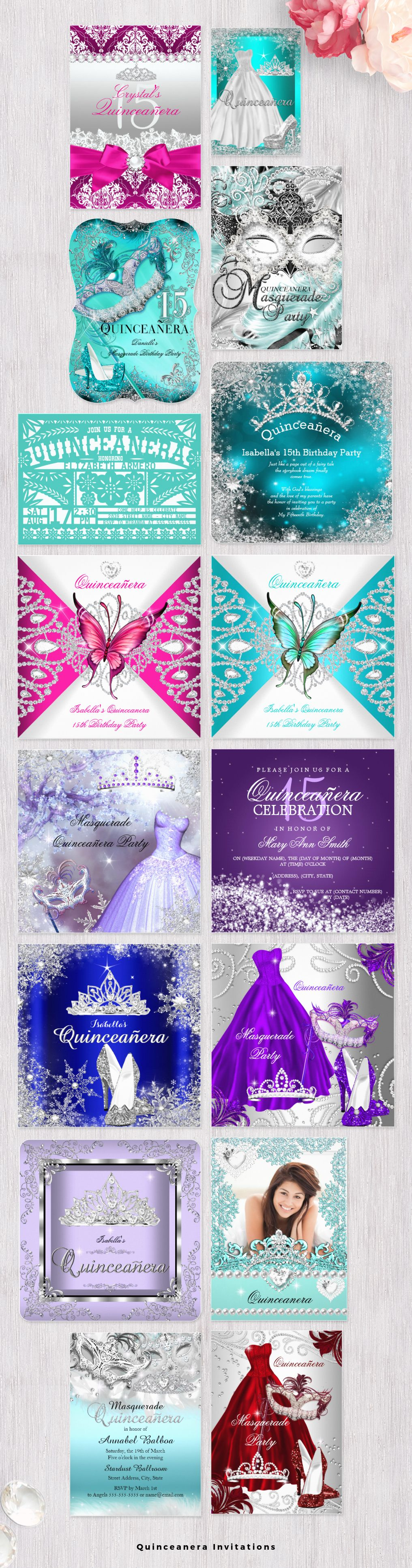 Quinceanera Invitations with easy to edit templates to create your