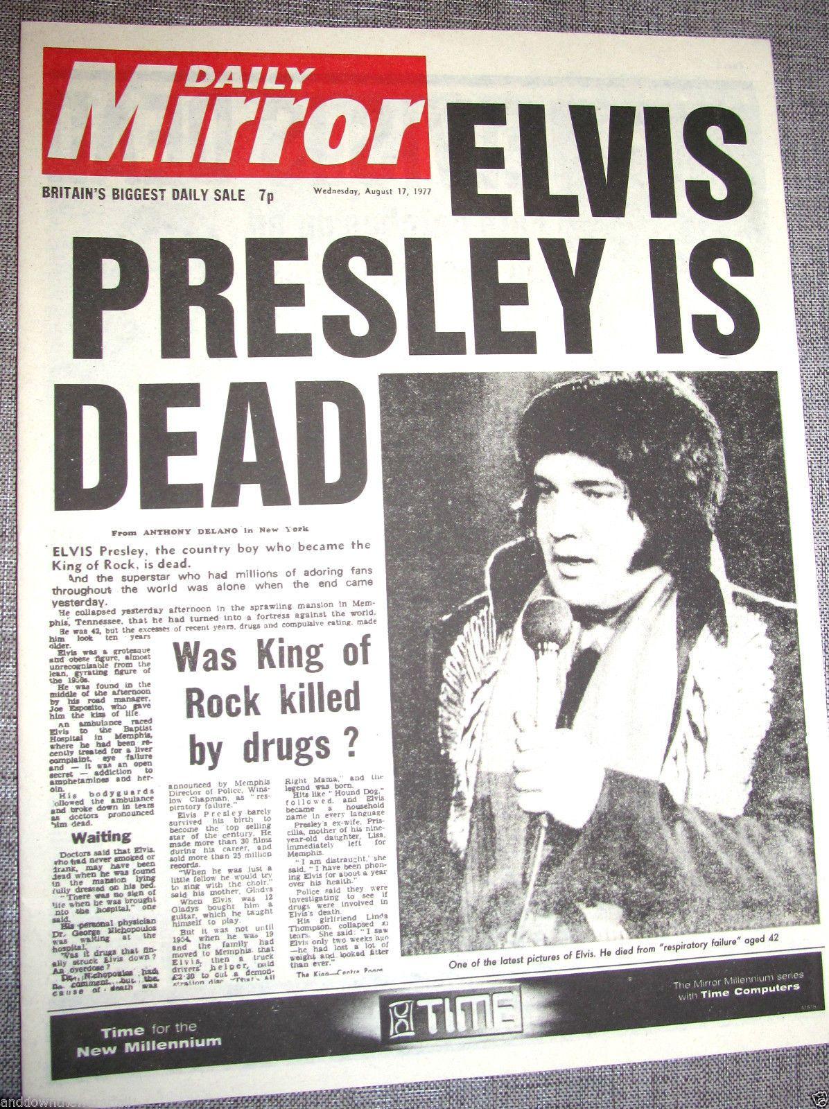 Elvis Presley Dies Retro Vintage Newspaper King Of Rock N Roll Pop Music Legend Elvis Presley Elvis Vintage Newspaper