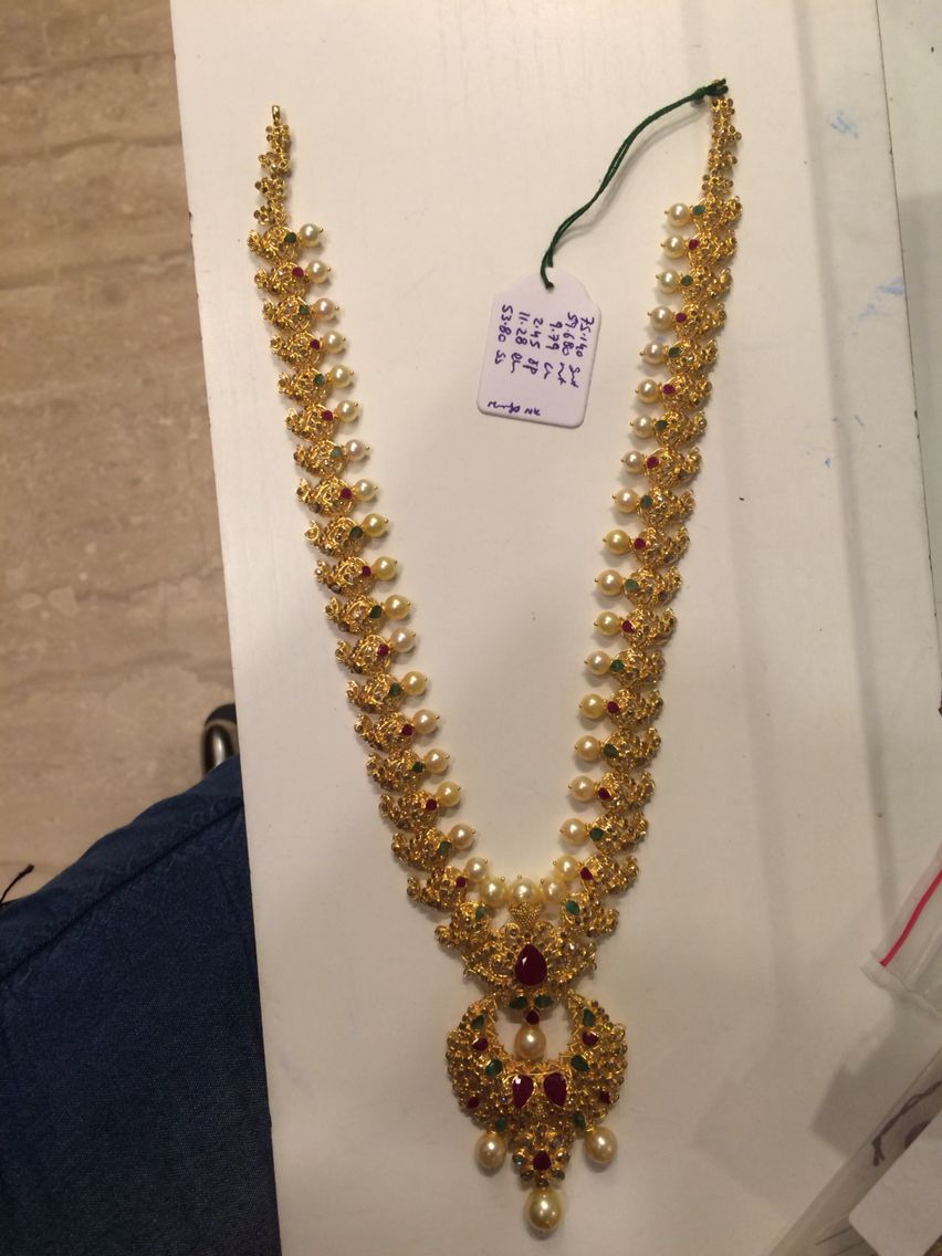 Gold rani haar pictures to pin on pinterest - 59 Gms Long Necklace