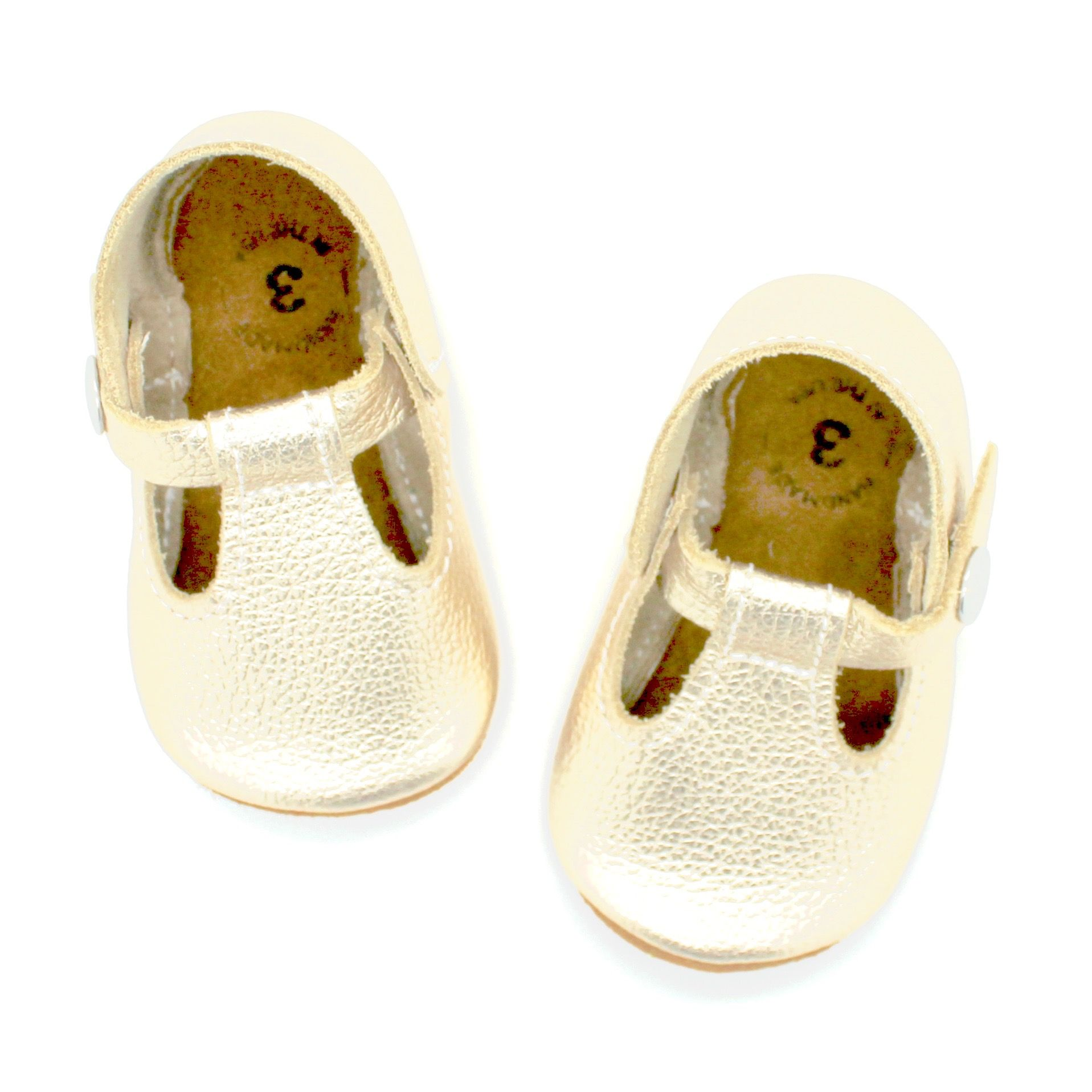 The original soft soled t strap white gold