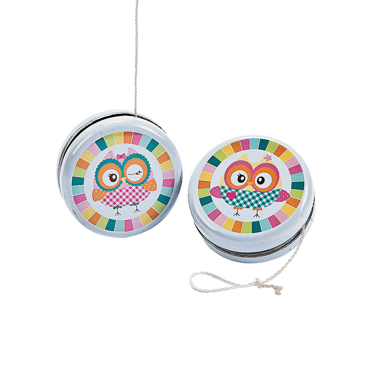 "12 Owl Birthday Yo-Yo's - These classic metal toys will be a ""hoot"" in gift bags! Assorted designs. 2"" ($5.50/46 cents each)"