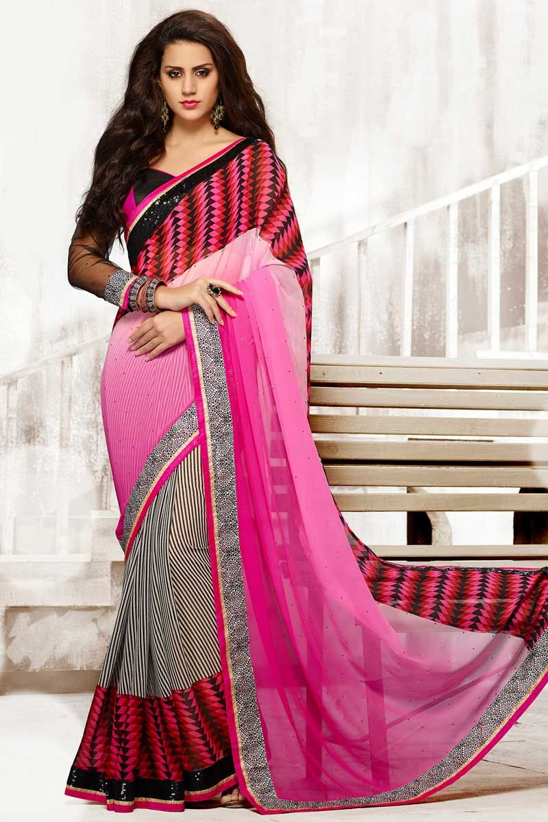 Pink White Georgette Saree with Art Silk Blouse Price:-£45.00 ...