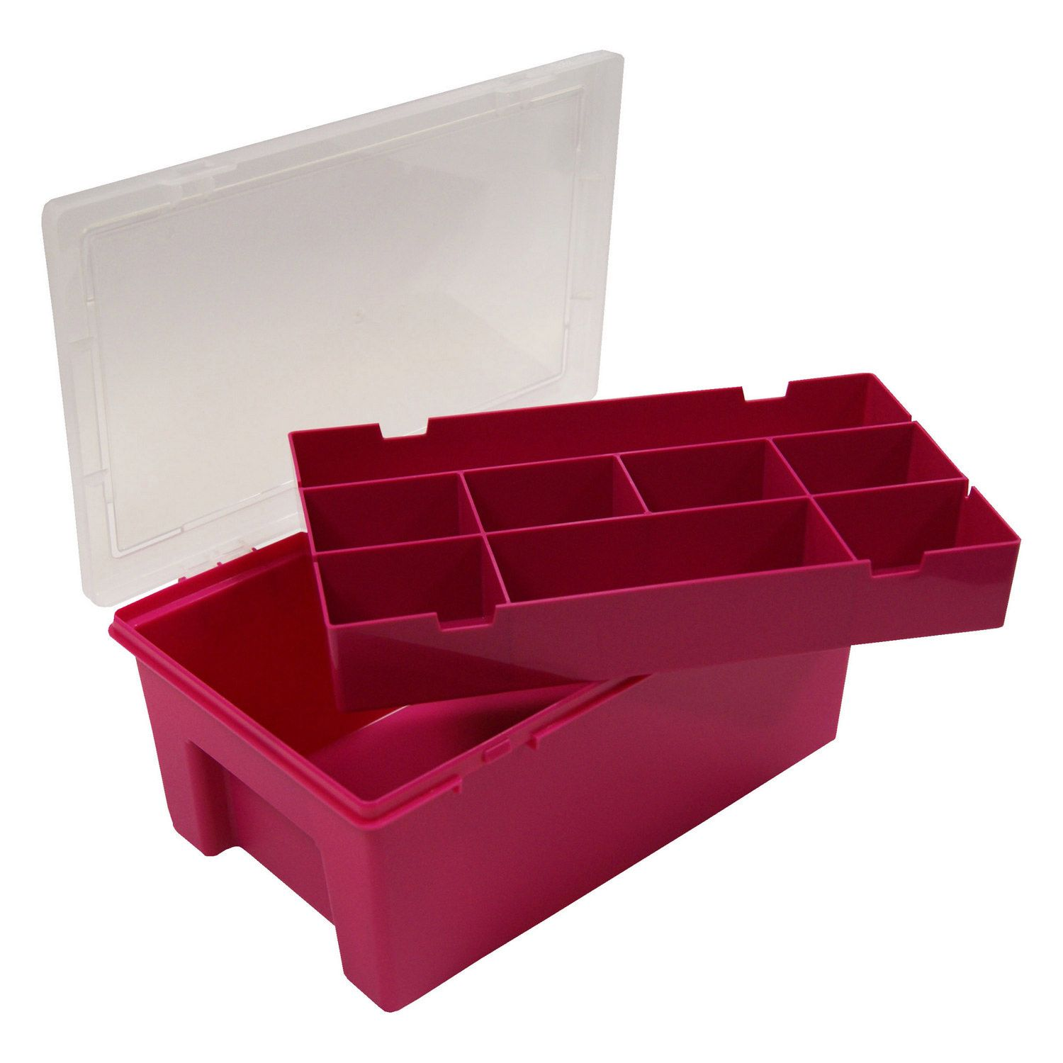 Wham 29cm Pink Storage Box with 8 Divisions and Tray | Craft | Craft Storage, Loom Band Storage at The Range