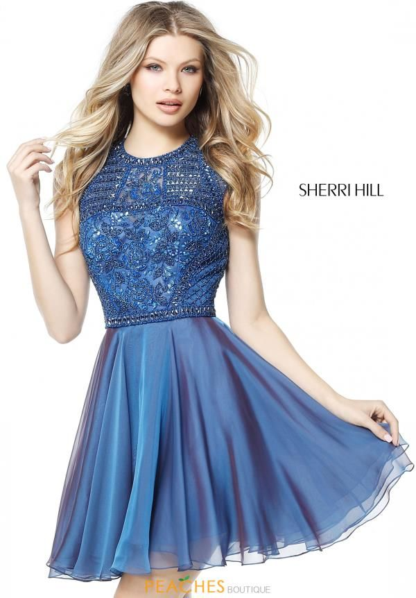 This short A-line dress 51293 from Sherri Hill will dazzle the crowd as you  bust a move out on the dance floor. Fitted bodice is fully adorns in  intrica.