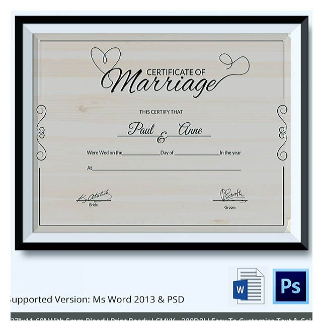 Designing Using Marriage Certificate Template for Your Own - printable certificate of participation