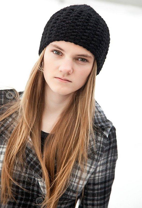 69b4b1775ea Black Beanie Crochet Beanie Black Hat Chunky Beanie Womens Hats Womens  Beanie Skull Cap Black Cap Be