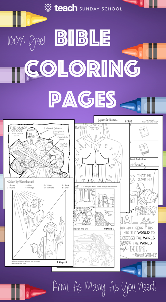 6 Free Printable Bible Coloring Pages. Includes coloring