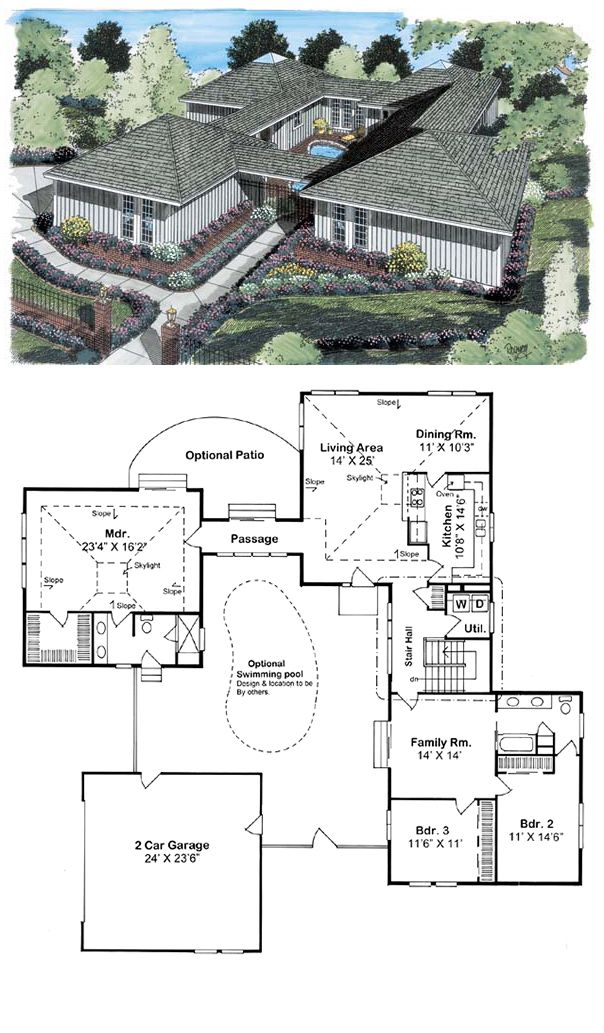 Ranch Style House Plan 10507 With 3 Bed 2 Bath 2 Car Garage Florida House Plans Ranch Style House Plans Courtyard House Plans