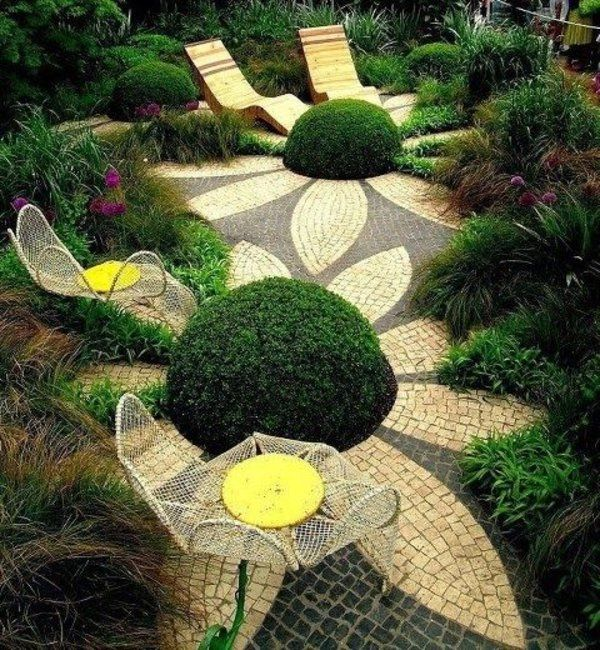 gartengestaltung bilder bodenbelag mosaik liegen Garten - terrasse im garten herausvorderungen