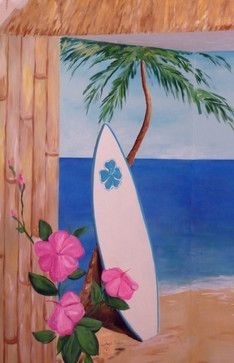Teke Hut Mural Surf Board Tiki Hut Mural Palm Tree Mur Home Design Photos Mural Painting Mural House Design Photos