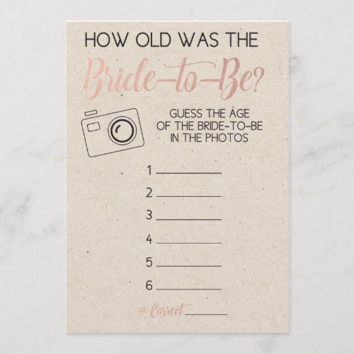 Bridal Shower Game- Guess Bride's Age from Photo | Zazzle.com
