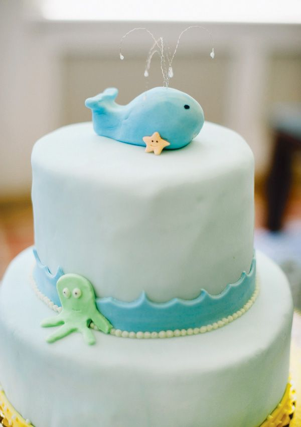 whimsical under the sea baby shower gender neutral  whale cakes, Baby shower