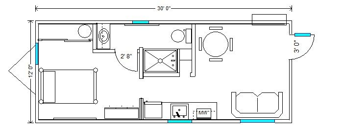 12x30 Hardship Cottage Tiny House Floor Plans Floor