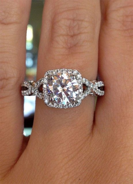 This Legit My Dream Ring The Twisted Double Band With Diamonds And A Large Square Diamond In Middle Absolute Perfection
