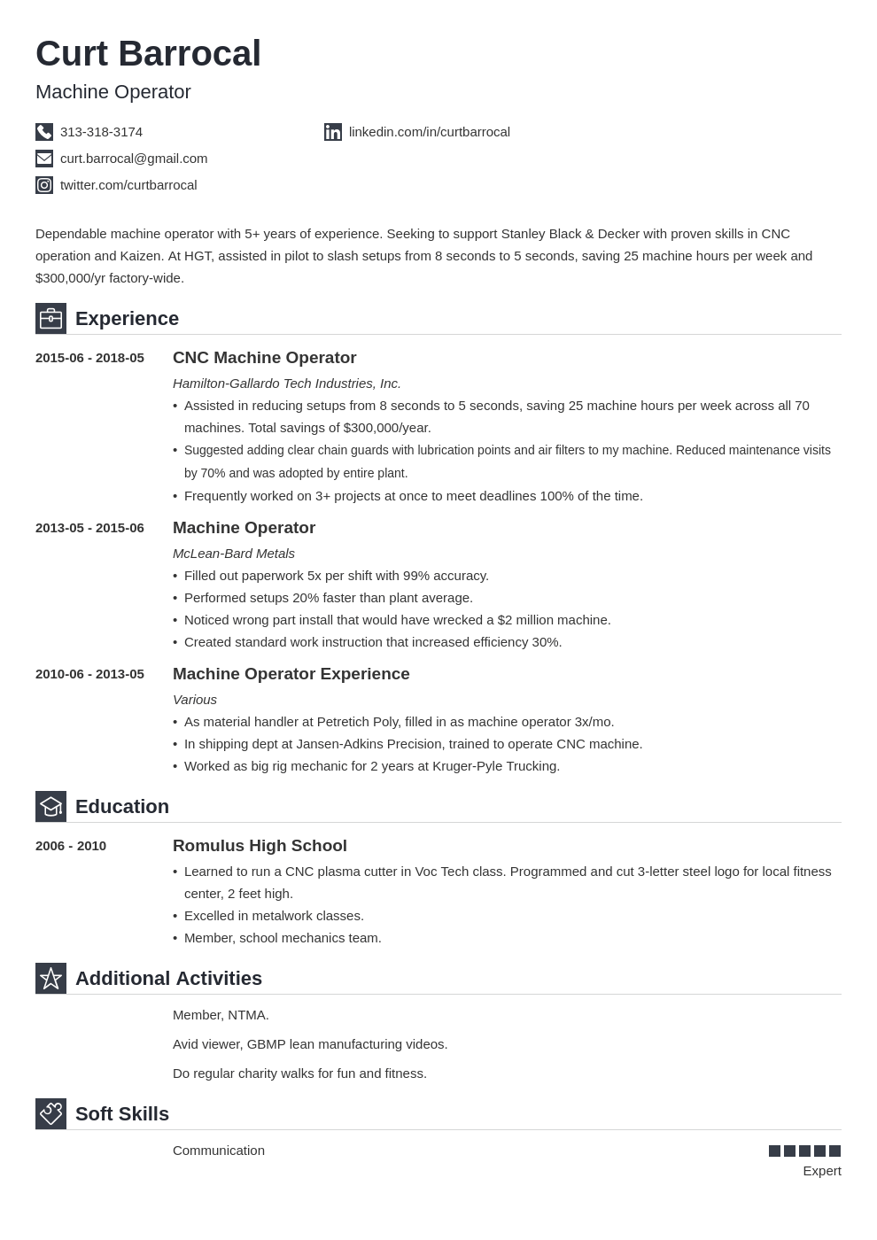 machine operator resume example template iconic in 2020