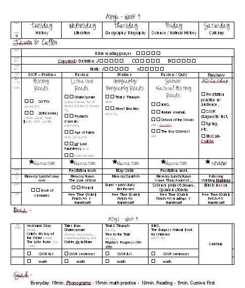 AO weekly schedule layout Homeschool Misc Pinterest - weekly schedule template