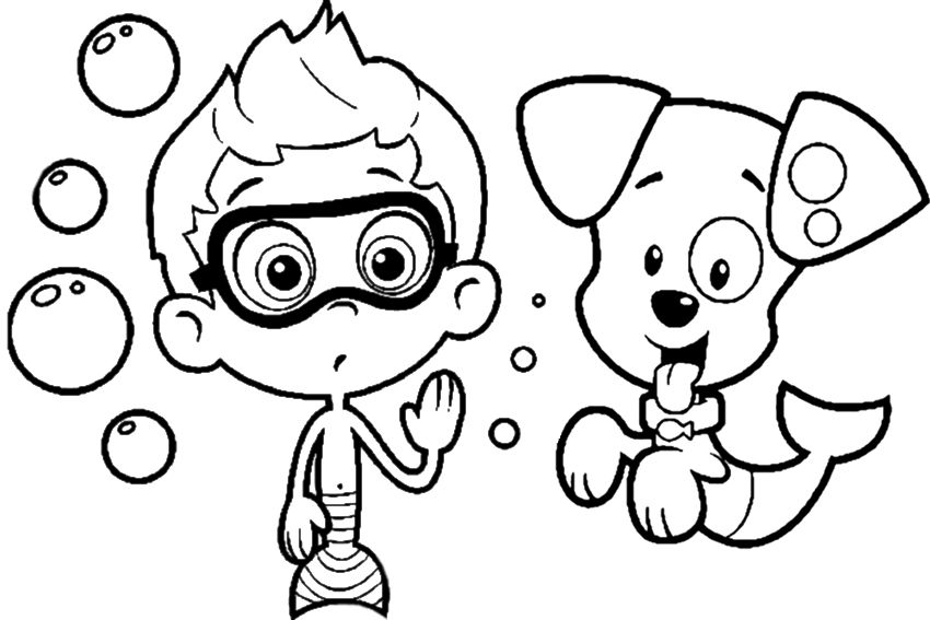 Cartoon Coloring Free Bubble Guppies Coloring Pages Free Bubble