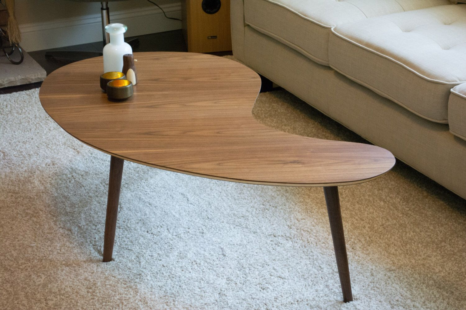 Mid Century Modern Coffee Table Kidney Bean Walnut Extra Large