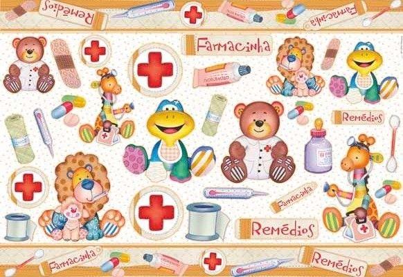 Papel para decoupage farmacinha infantil pd 522 litoarte - Papel decoupage infantil ...
