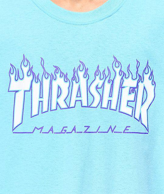 Thrasher Flame Sky Blue TShirt Thrasher, Thrasher