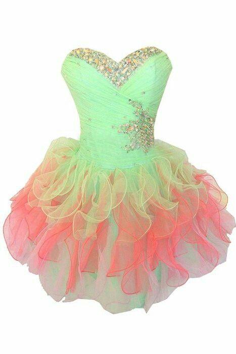 Prom dress Or rainbow dress #green#yellow#orange#pink#diamonds ...