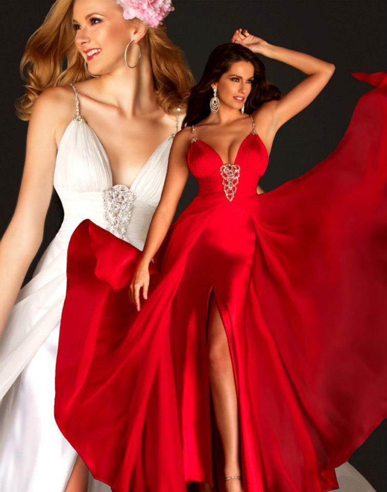 Saten Gogus Dekolteli Yirtmacli Kirmizi Abiye Elbise Modelleri Balo Elbiseleri Aksamustu Giysileri The Dress