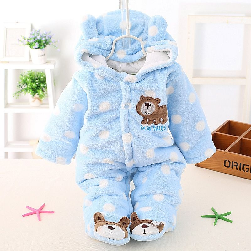 e00280dc5c84 Newborn Baby Girls Clothing Coral Fleece Winter Boy Rompers Cartoon ...