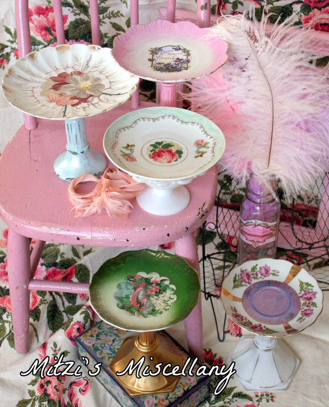Cake stands made from glass candle sticks and old tea cup saucers. Great idea