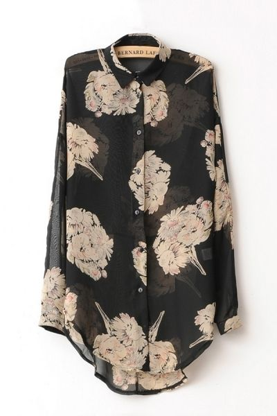 Black Floral Print Shirt by OASAP
