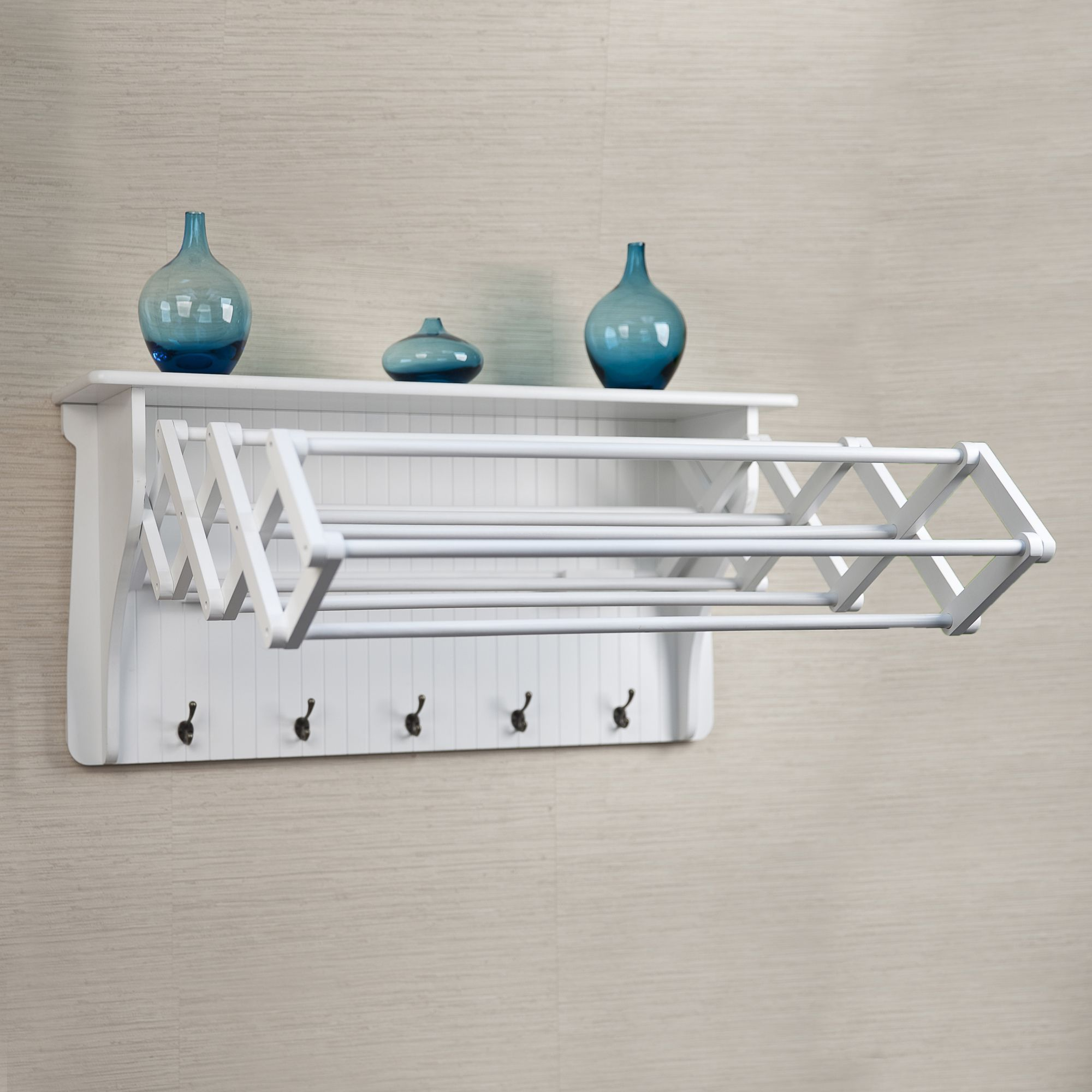 Accordion drying rack white wood laundry rack and hanging racks