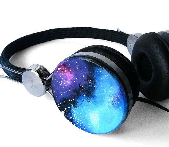 Space Galaxy Nebula Custom headphones earphones hand painted
