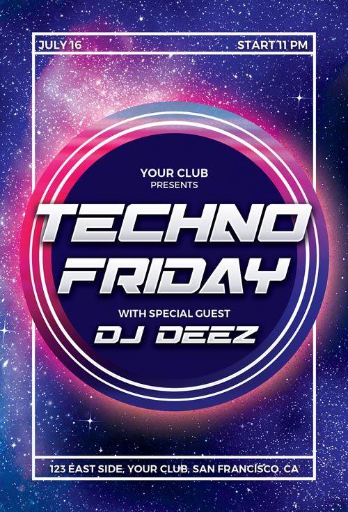 Techno Party Free Psd Flyer Template Httpffflyertechno