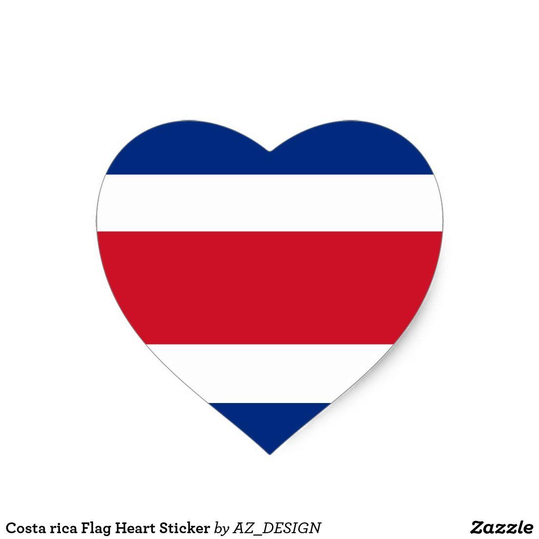 Costa Rica Flag Heart Sticker Zazzle Com Bandera Costa Rica