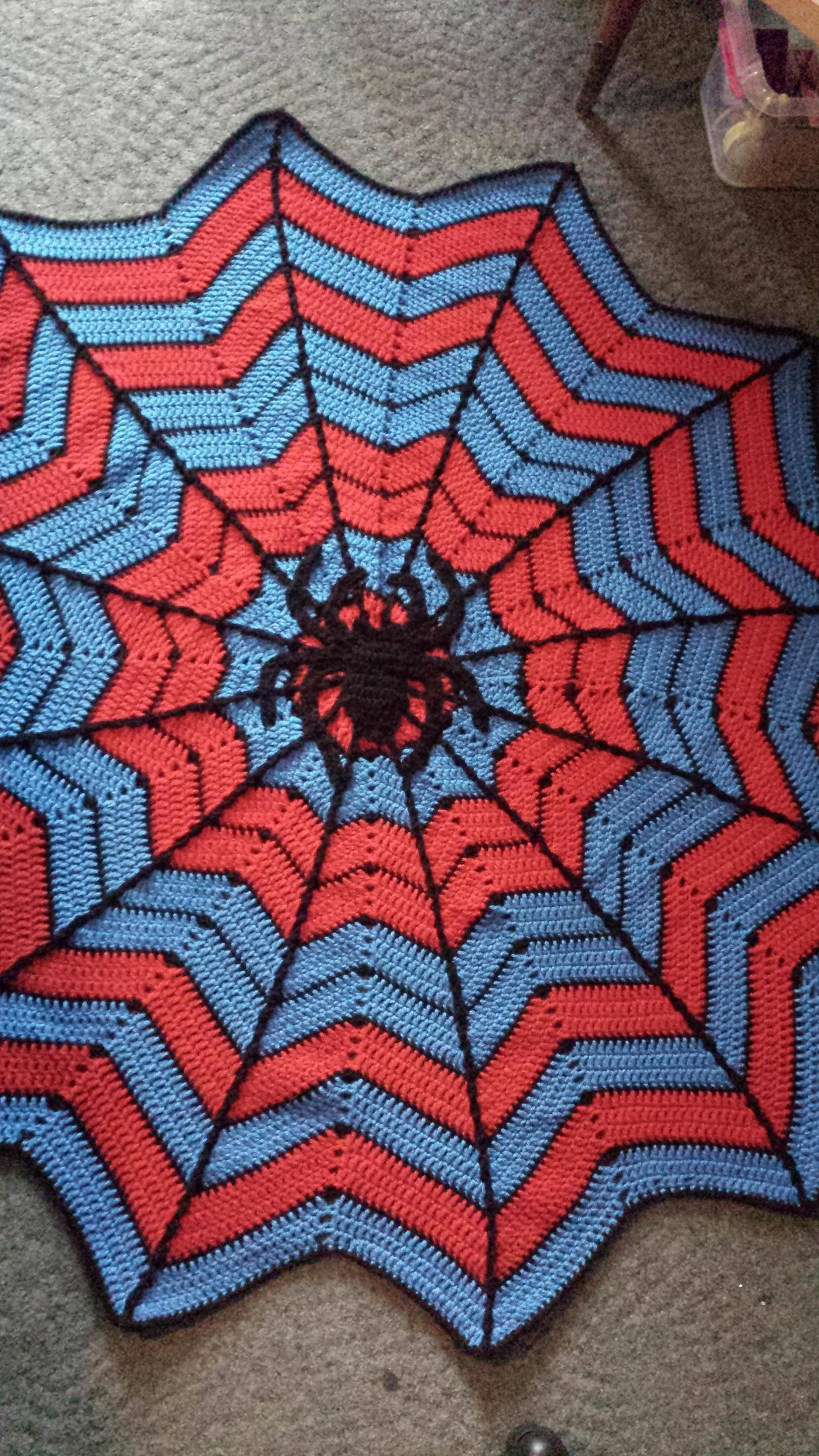 Finished a Spiderman spiderweb blanket for my little ...