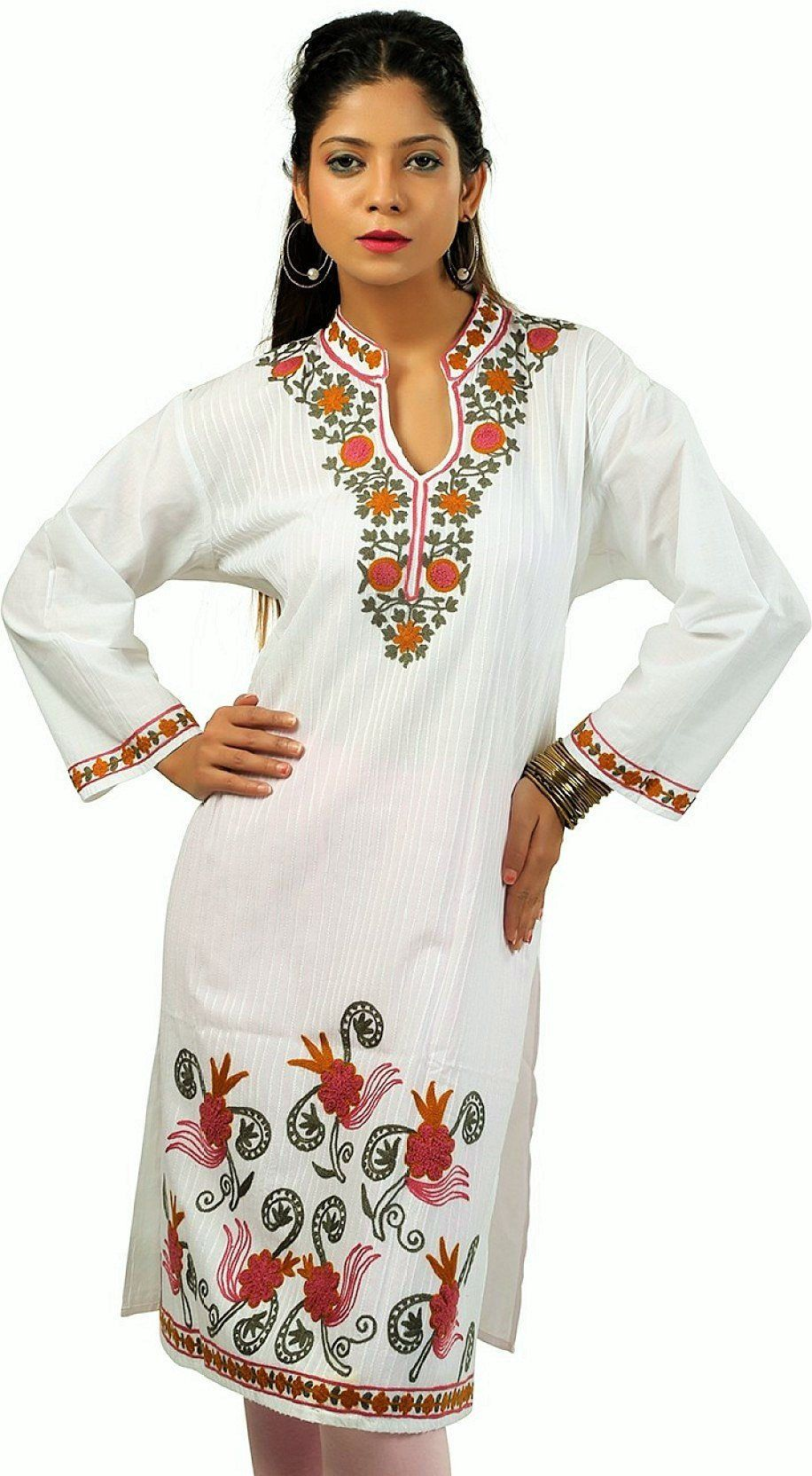 White Tunic Dress Summer Dresses For Women Tunics India Etsy Summer Dresses For Women White Embroidered Dress Embroidered Tunic Dress [ 1664 x 916 Pixel ]