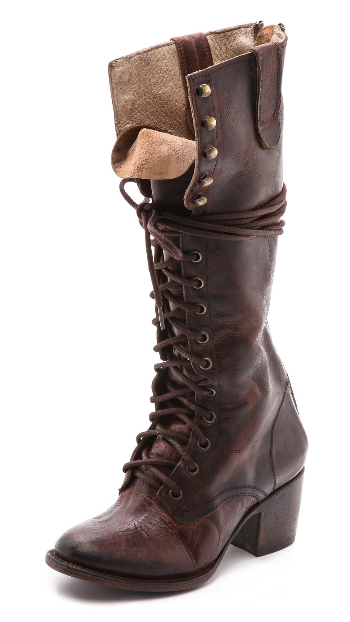 9ab4dae083044a FREEBIRD by Steven Women's Granny Tall Combat Boots, Brown, 8 B(M ...