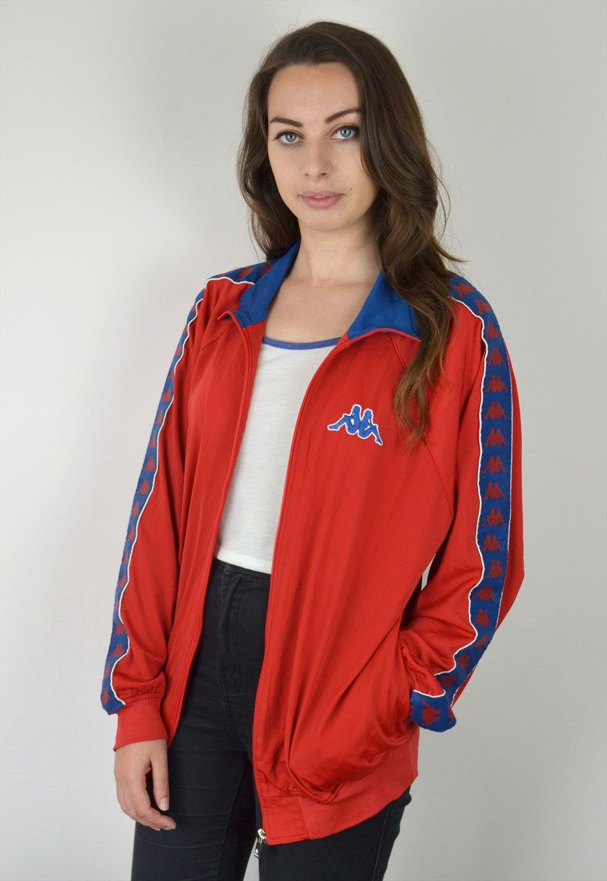 90 S Vintage Red Kappa Lightweight Track Jacket Ica
