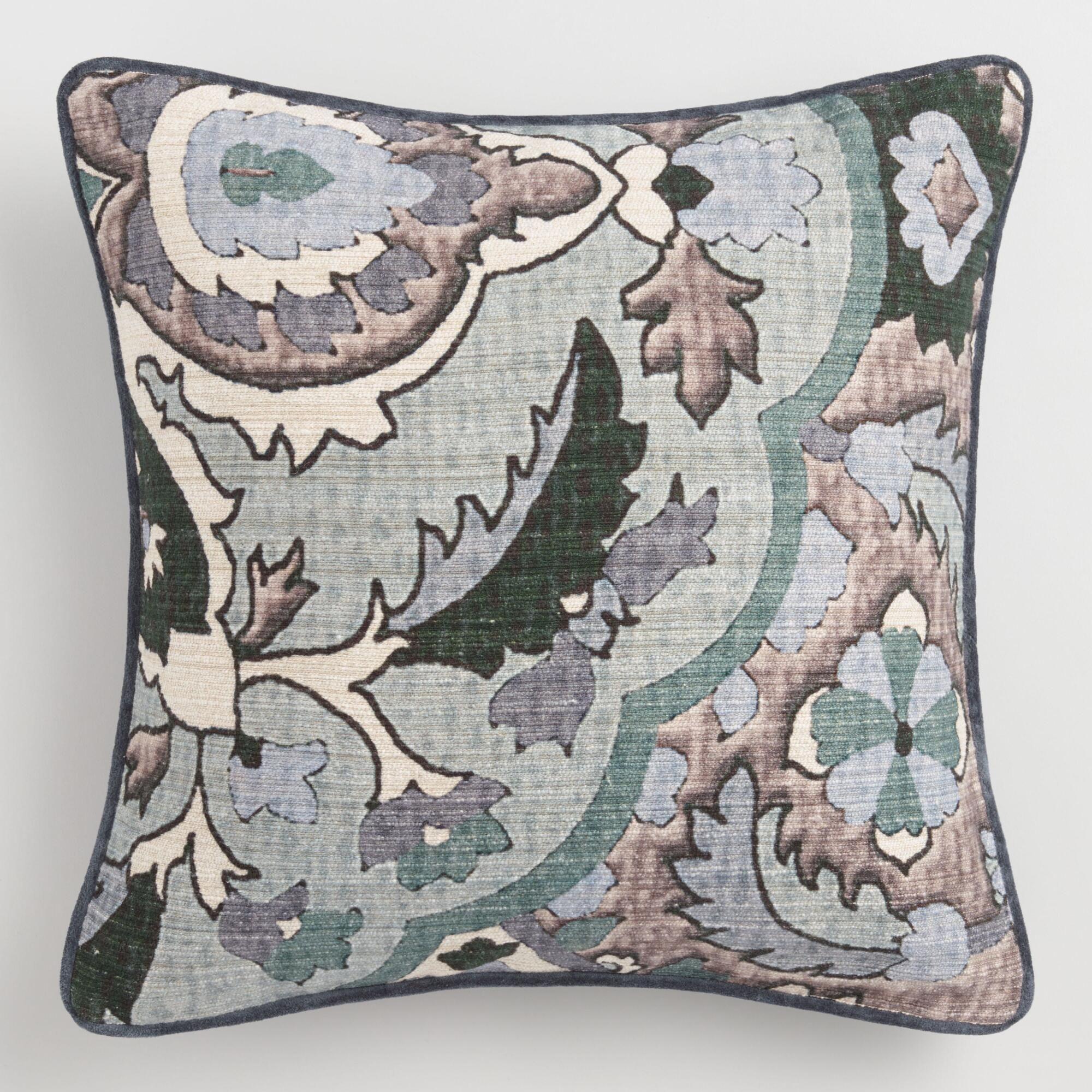 Incredible Cool Floral Villa Micha Throw Pillow Gray Cotton 18 Beatyapartments Chair Design Images Beatyapartmentscom