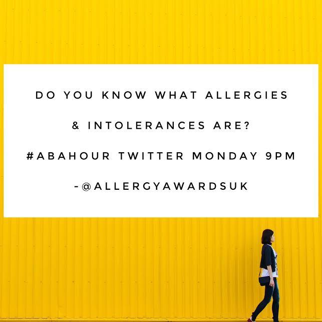 #ABAHour - Do you know what allergies and intolerances are? Twitter 9pm Monday